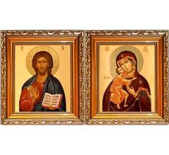 Феодоровская Богородица и Христос благославляющий. Венчальная пара. Иконы на холсте.