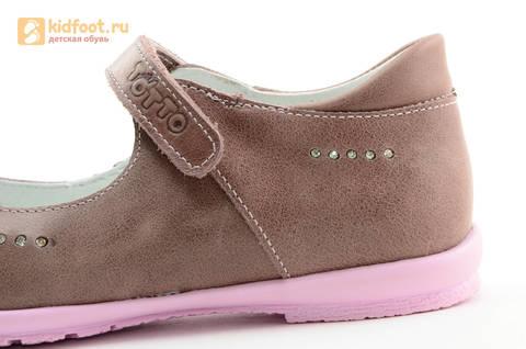 Туфли Тотто из натуральной кожи на липучке для девочек, цвет ирис серобежевый, 10204B. Изображение 14 из 16.