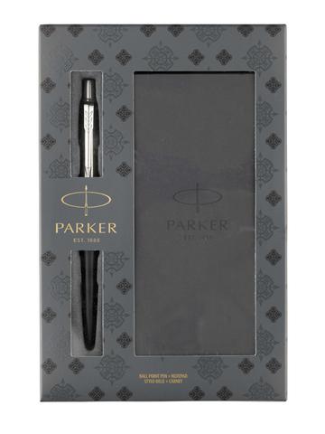 Подарочный набор Parker из шариковой ручки Parker Jotter Bond Street Black и блокнота 13.5см*6.5см*1см 2020375