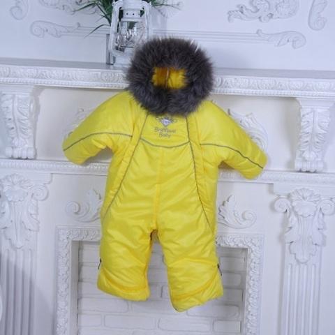 Зимний комбинезон для новорожденного желтый