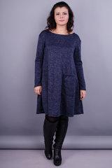 Альбина. Женское платье на каждый день плюс сайз. Синий.