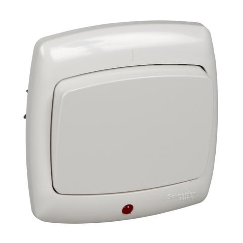 Выключатель одноклавишный с подсветкой 10 А 250 В. Цвет Белый. Schneider Electric(Шнайдер электрик). Rondo(Рондо). VS1U-125-BI