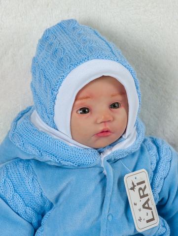 Шапочка с завязками вязан. ( голубой, вяз. полотно акрил, зима( 0-1 мес))