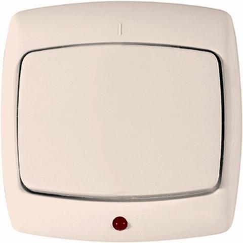 Выключатель одноклавишный с подсветкой 10 А 250 В. Цвет Слоновая кость. Schneider Electric(Шнайдер электрик). Rondo(Рондо). VS1U-125-SI