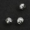 Бусина металлическая гофрированная (цвет - серебро) 4 мм, 10 штук