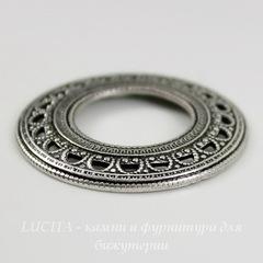 Винтажный декоративный элемент - рамка 27 мм (оксид серебра)