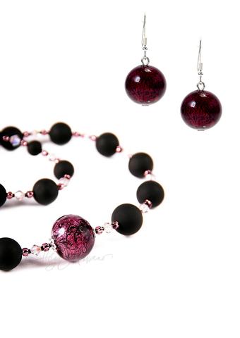 Комплект украшений Monte Amiata черно-фиолетовый