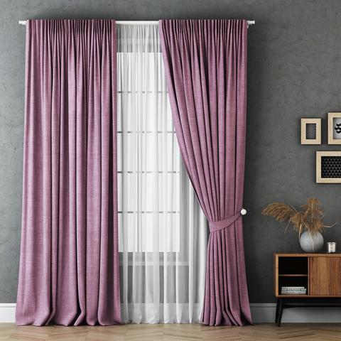 Комплект штор и тюль Бруни розовый