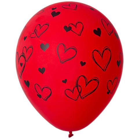 Воздушный шар с Набросками Сердец