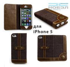 Чехол для iPhone bear-motion для iPhone SE / 5S Bear Motion Luxury кожа натуральная, джинса