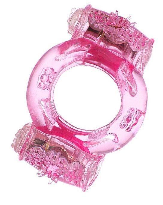 Эрекционные кольца: Розовое виброкольцо с двумя батарейками