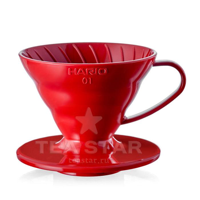 Кофейные аксессуары Воронка Hario 60, VD-01R, пластиковая для приготовления кофе, красная Hario_V60-VD-01r-1.jpg