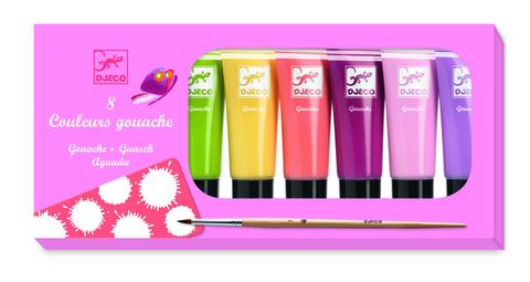 Наборы с красками Гуашь, 8 пастельных цветов