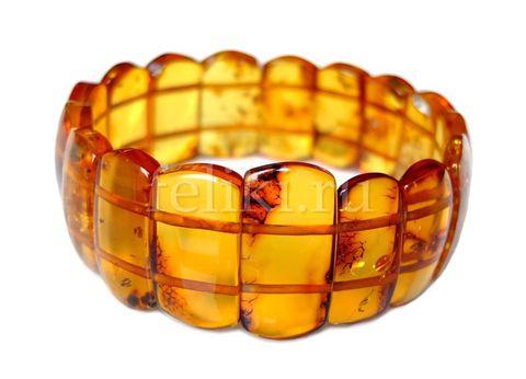 браслет из натурального янтаря оранжевого цвета
