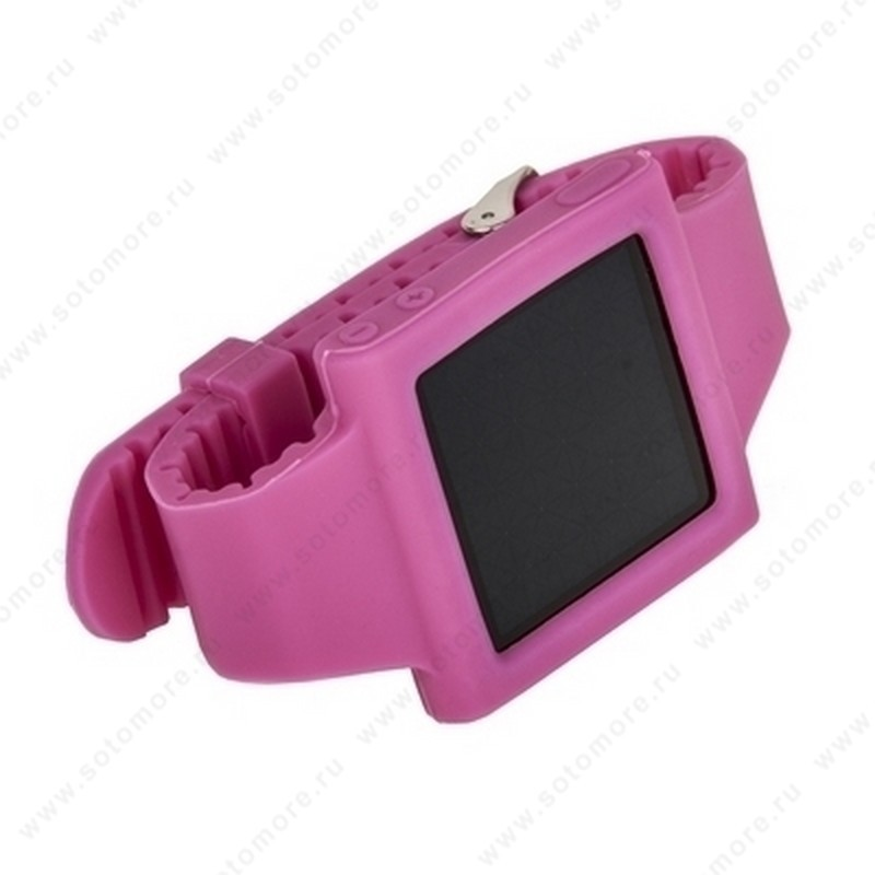 Сменный ремешок силиконовый для Apple iPod nano 6 браслет с металлической застежкой розовый