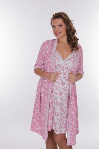 Комплект для беременных и кормящих с халатом и сорочкой 09150 цветной