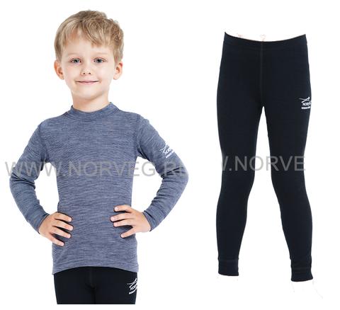 Термобелье комплект из шерсти мериноса Norveg Soft  детский (Melange-Black)