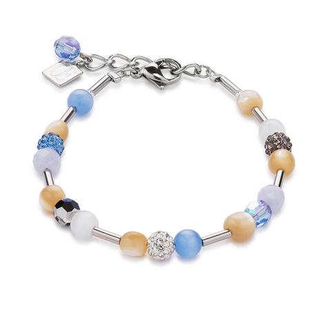 Браслет Coeur de Lion 4913/30-0720 цвет бежевый, белый, голубой