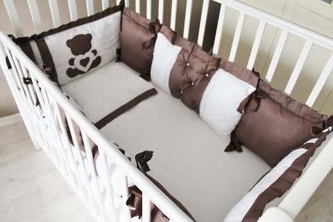 Бортики в кроватку Шоколад, на 4 стороны кроватки