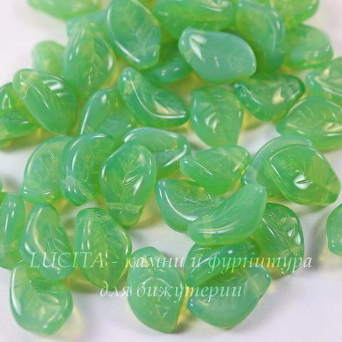 Бусина Wavy Leaf Листик, 14х9 мм, опалово-зеленая