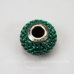 80101 Бусина Сваровски BeCharmed Pave Emerald 14х9 мм