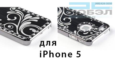 Чехол для iPhone pandamini для iPhone SE / 5S алюминий хром черные узоры цветы iPhone 5 черный
