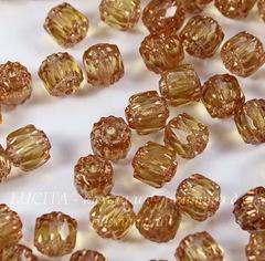 Бусина Crown Picasso Бочонок с огранкой, 6 мм, желто-песочная с бронзой