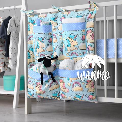 органайзер на ліжечко з голубими єдинорогами фото