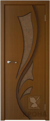 Дверь Крона Лидия, стекло дельта-бронза, цвет орех, остекленная