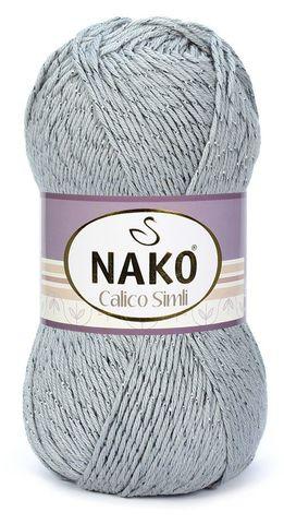 Пряжа Nako Calico Simli серый 10255