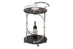 (VT-S-04) Сервировочный столик (MK-2317) (МДФ+хромир-й металл) цвет: Темный орех