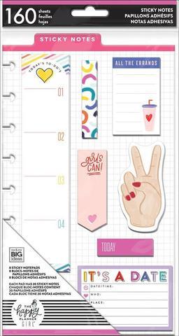 Набор стикерблоков Happy Planner Sticky Notes 160шт, 8 дизайнов по 20 шт. -Encourager