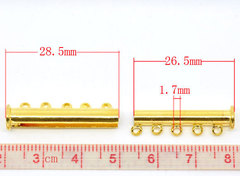 Замок магнитный трубочка на 5 нитей (цвет - золото) 30х10 мм