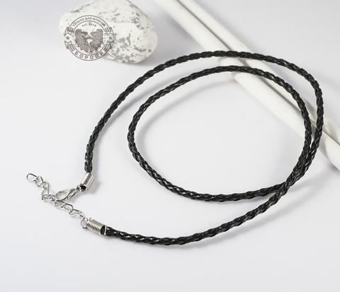 PL260-1 Черный кожаный шнур с застежкой (57,5-60 см)