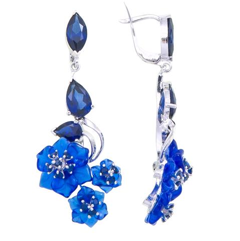 Серьги с цветами из синего кварца и сапфиром Арт.2231сс