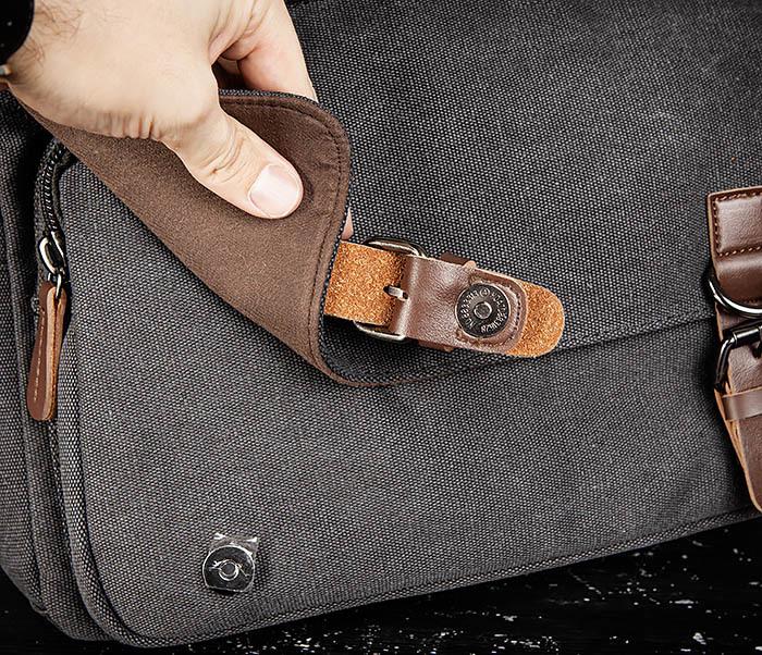 BAG504-1 Удобная городская сумка портфель из ткани серого цвета фото 09