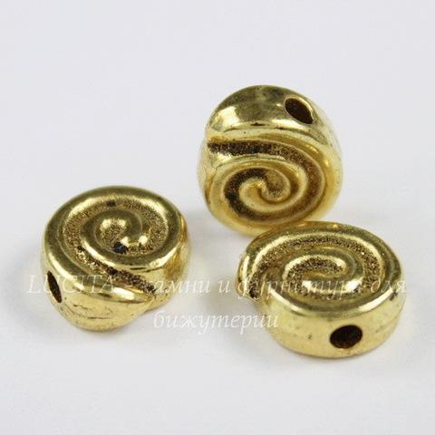 """Бусина металлическая """"Спираль"""" 9х8 мм (цвет - античное золото)"""