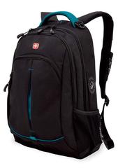 Рюкзак Wenger, черный/бирюзовый, со светоотражающими элементами, 32x15x46 см, 22 л