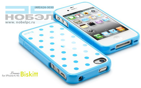 Чехол для iPhone SGP для iPhone 4S бисквит шпиц SGP iPhone 4 / 4S Case Linear Biskitt Series SGP08681 голубые горошины