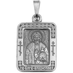 Святой Владислав. Нательная икона посеребренная.