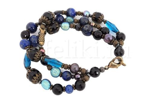 тёмно-синий браслет из лазурита и агата_фото