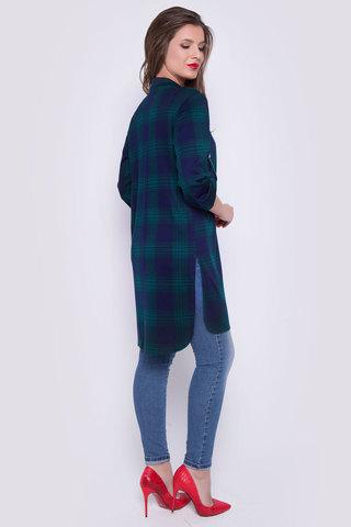 Хит сезона! Отличный осенний вариант. Рубашка удлиненная с разрезами. Ворот на стойке. Рукав до локтя с патой. (Длина: 44-93см; 46-94см; 48-95см; 50-96см; 52-98см)