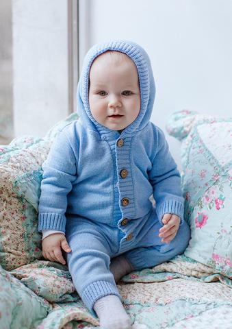 Лапушка. Комбинезон на пуговицах с капюшоном хлопковый, голубой