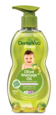 Массажное масло для детей Оливковое, без парабенов, 200 мл, Dabur Dermoviva