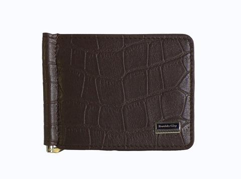 Мужской коричневый зажим для денег из натуральной кожи под крокодила с отделениями для карт и карманом монетницей для мелочи на молнии 063-DC9-11I-B в подарочной упаковке коробке