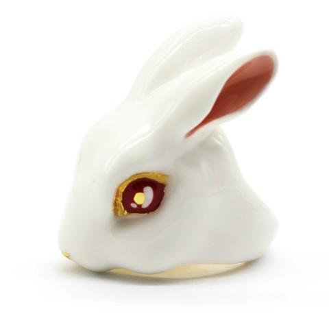 Кольцо Кролик (белый)