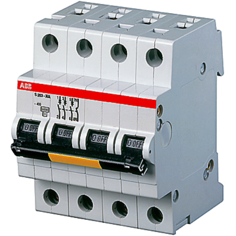 Автоматический выключатель трёхполюсный с нулём 50 А, тип D, 15 кА S203P D50NA. ABB. 2CDS283103R0501