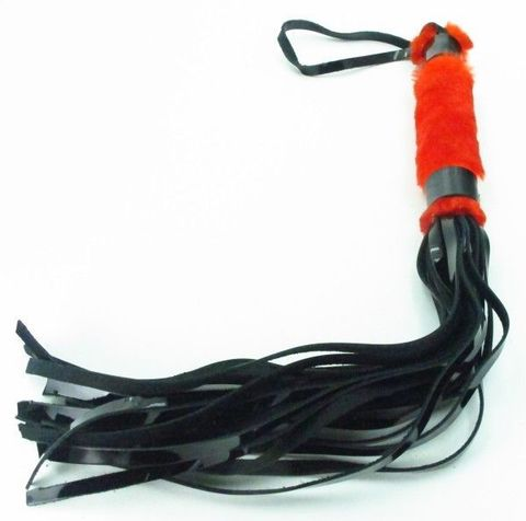 Плеть из лака с красным мехом BDSM Light - 43 см.