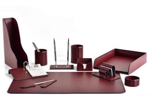 Канцелярский настольный набор 11 предметов из кожи, цвет бордо