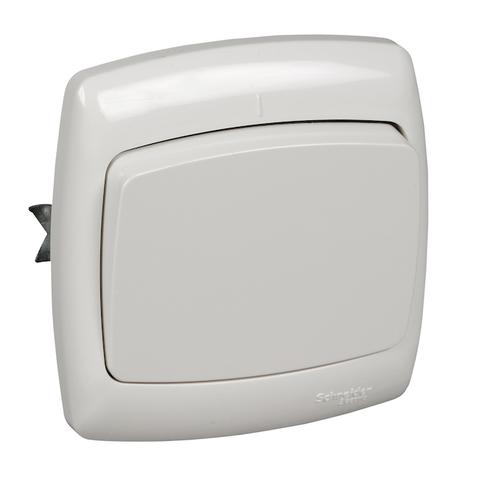 Выключатель/переключатель одноклавишный на 2 направления(проходной) 6 А 250 В. Цвет Белый. Schneider Electric(Шнайдер электрик). Rondo(Рондо). S66-004-SI